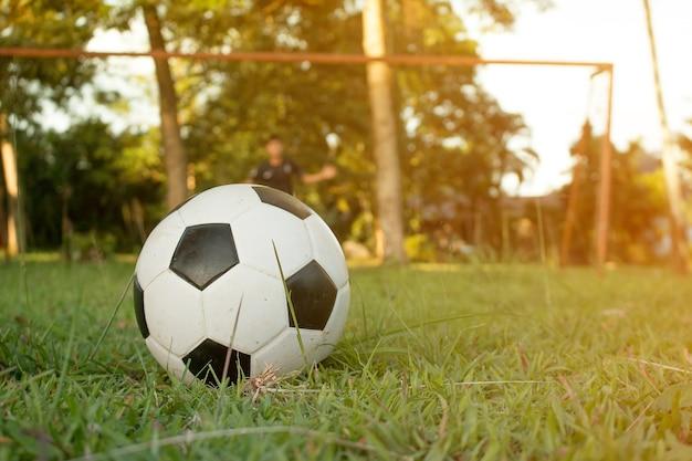 スポーツフィールドでサッカーボールを蹴っている少年。子供のためのサッカーサッカートレーニングセッション。 Premium写真