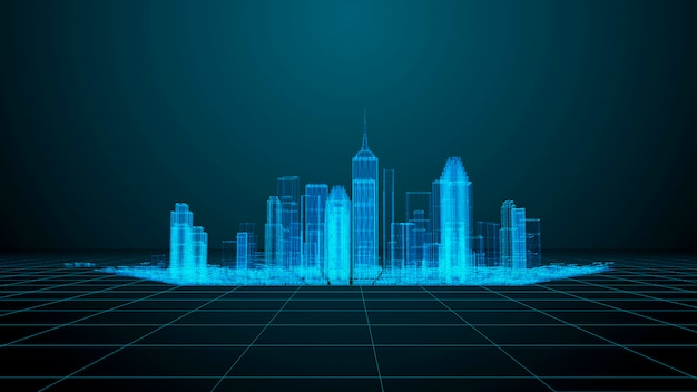 技術とコミュニケーションのテーマ現代都市のワイヤーフレームのレンダリング Premium写真