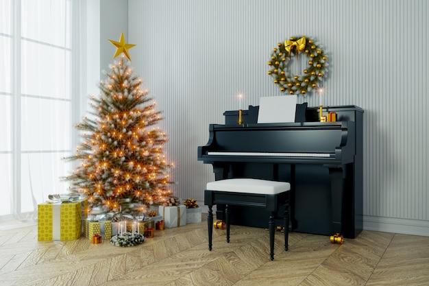 幸せな新年、クリスマスツリーの装飾と白い壁と木のピアノ Premium写真