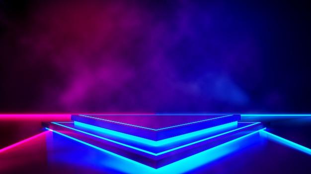 煙と紫のネオン光、抽象的な未来的な背景と三角形のステージ Premium写真