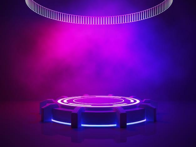 紫のインテリアのコンセプト、煙と紫色の光のある空のステージ Premium写真