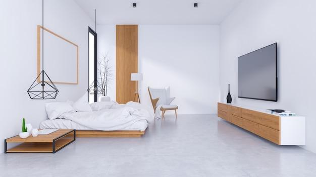 ベッドルームデザインと居心地の良いスタイルのモダンなロフトのインテリア Premium写真