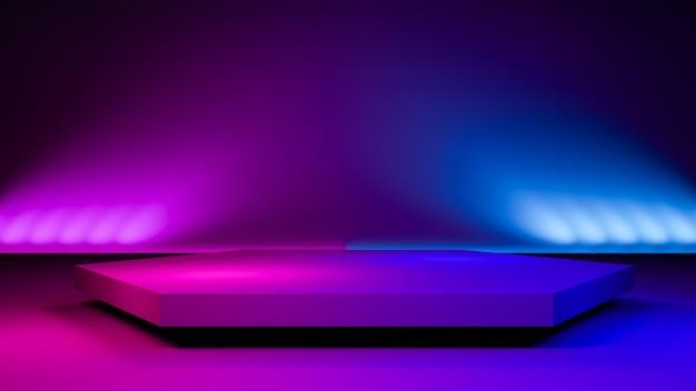 六角形ステージライト、抽象的な未来的な背景 Premium写真