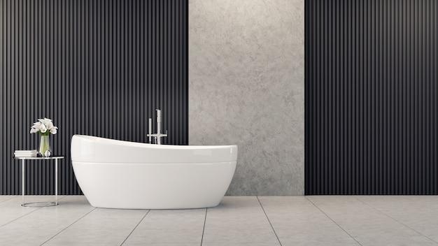 モダンでロフトのバスルームのインテリアデザイン、白いバスタブは黒いバッテンの壁にテーブルの上の花の近く Premium写真