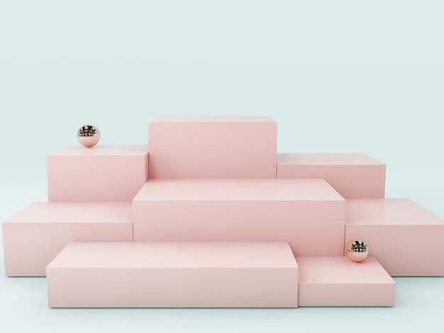 ピンク製品ディスプレイ表彰台、抽象的な背景 Premium写真