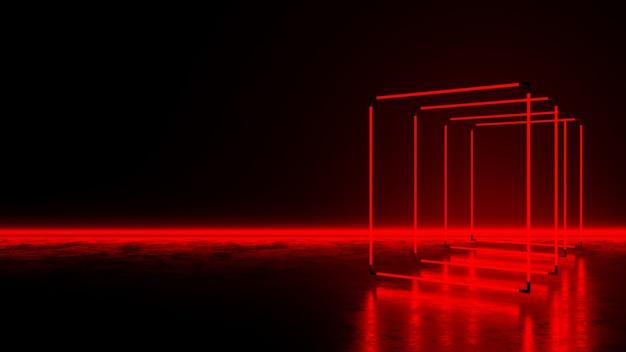 暗い床に赤い四角形のネオンの光 Premium写真