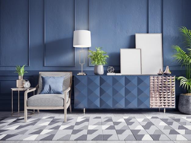 白い肘掛け椅子と紺色の壁に植物とフレームのモックアップと青いキャビネット Premium写真