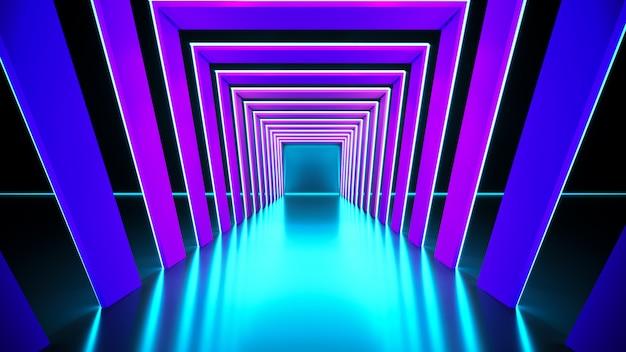 Современный футуристический неоновый свет Premium Фотографии