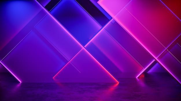 モダンな未来的なネオンの光の背景 Premium写真