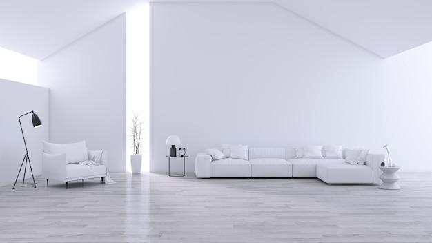 広々としたモダンでミニマルなリビングルーム、黒と白のインテリア Premium写真