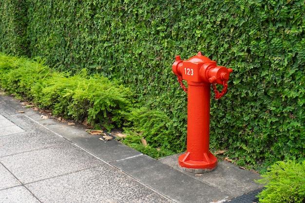 Красная пожарная труба в городе, прогулка Premium Фотографии