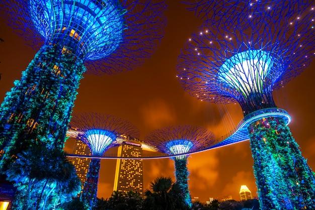 Супердеревянный сад ночью в саду у залива, сингапур Premium Фотографии