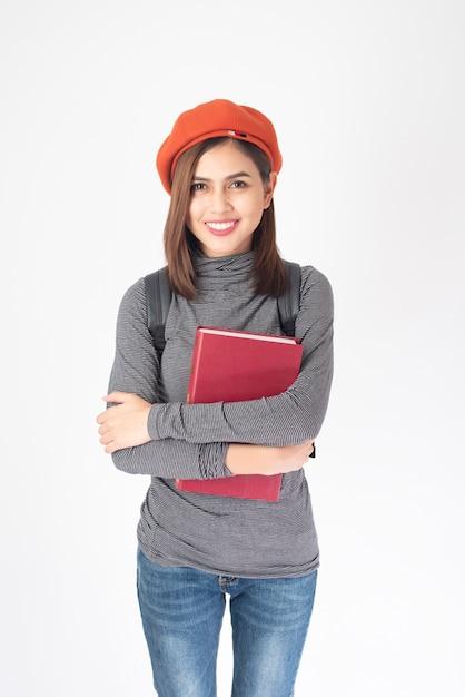 Портрет красивой женщины университета на белом фоне Premium Фотографии