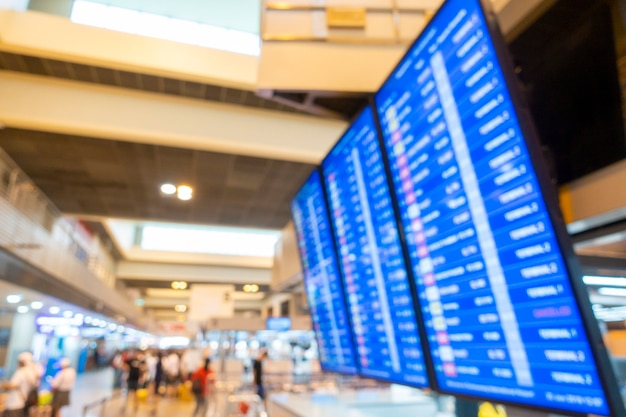 Размытый фон внутри аэропорта, концепция путешествия Premium Фотографии