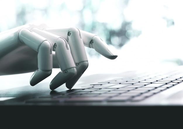 ロボットのコンセプトやロボットハンドのチャットボットがコンピュータのキーボードを押す Premium写真