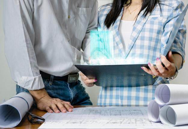 シートプラン表示技術構築モデルの設計のためのエンジニアチーム作業 Premium写真