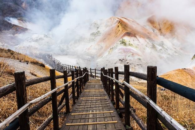 地獄谷地獄歩道、登別寺 Premium写真