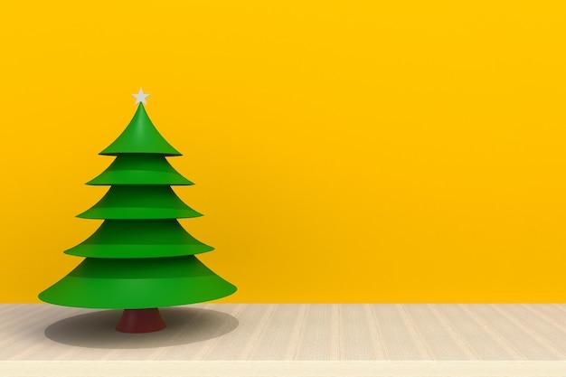 黄色の背景の前に木製のテーブルの上のクリスマスツリー Premium写真