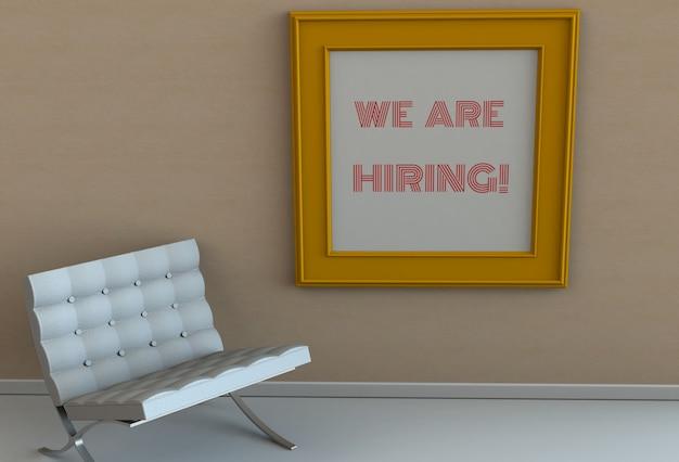 Мы нанимаем, сообщение на картинной рамке, стул в пустой комнате Premium Фотографии