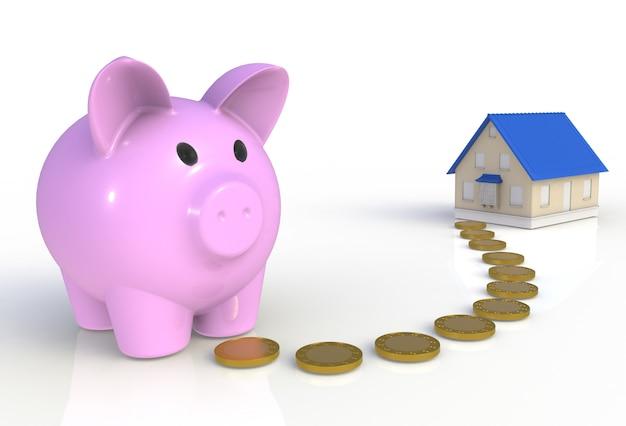 コインと白で隔離される家の貯金箱 Premium写真