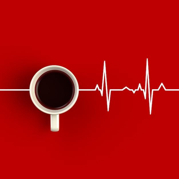 Чашка кофе в форме сердечного ритма Premium Фотографии