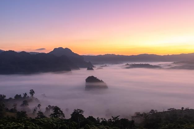 山の景色と美しい霧のプーランカ国立公園、タイ Premium写真