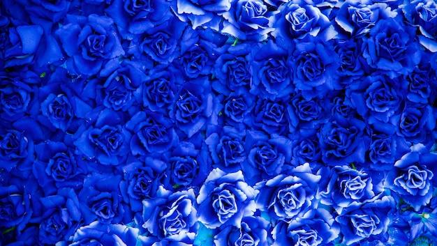 背景の青い花。 Premium写真