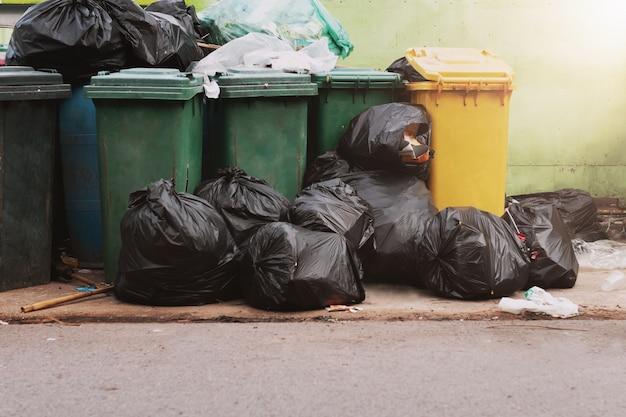 Мусор в мусор с черной сумкой в парке Premium Фотографии