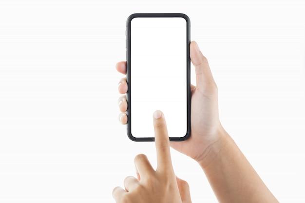 Женская рука, касающаяся экрана смартфона Premium Фотографии