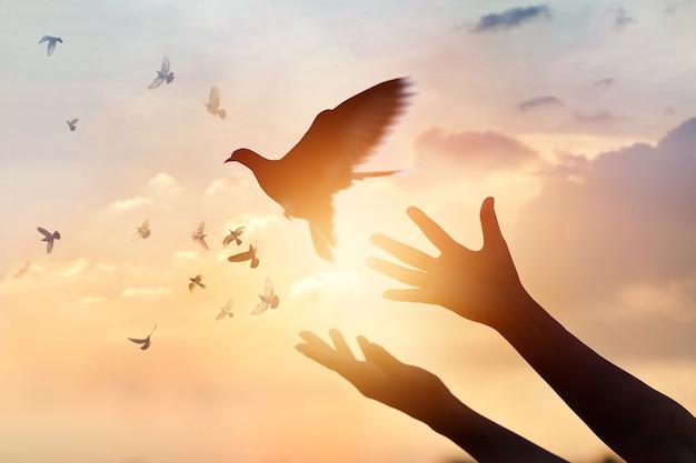 女性祈りと自由鳥 Premium写真