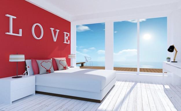 ラブモダンでシンプルなベッドルームのインテリア Premium写真