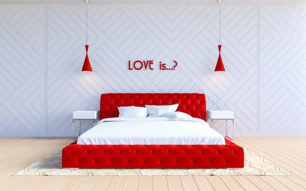 Современный интерьер спальни в цвете валентина Premium Фотографии