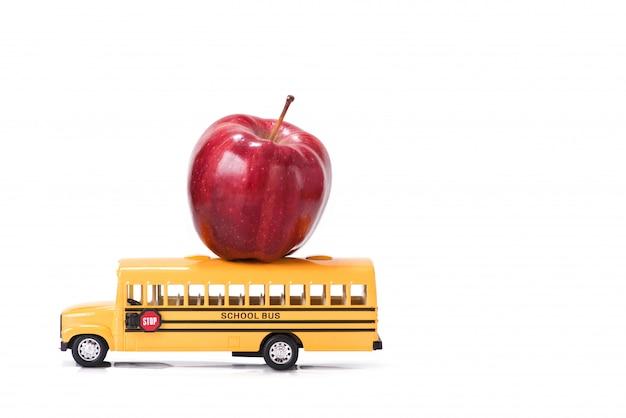 教育、白い背景の上の学校概念に戻る Premium写真