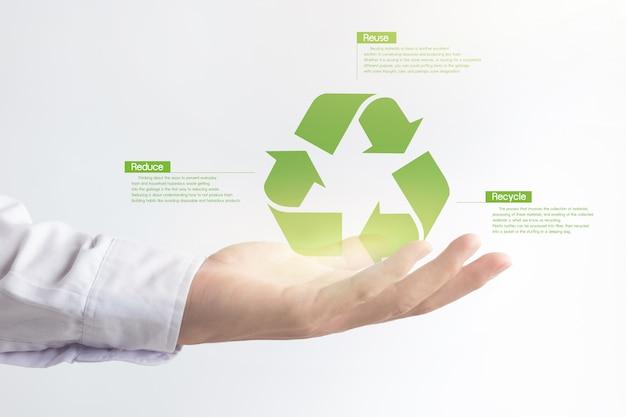 Рука значок виртуального эффекта рециркуляции, решение для глобального потепления. Premium Фотографии