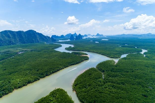 小さな島とアジア熱帯マングローブ林の景観の美しい自然の風景 Premium写真