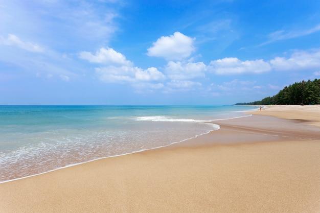 Красивый тропический пляж андаманское море и ясное голубое небо фон Premium Фотографии