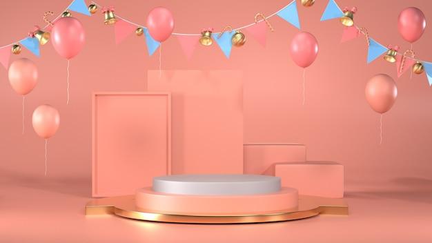 冬と昨年の販売に使用するクリスマスパーティーを祝うための空白の表彰台シーン Premium写真