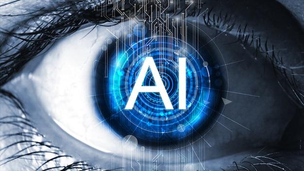 Датчик имплантирован в человеческий глаз. концепция искусственного интеллекта (ии). Premium Фотографии