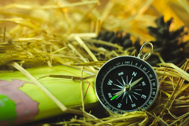 紙の地図と松の花を朝の日差しの中で乾いた小麦わらにコンパスします。 Premium写真