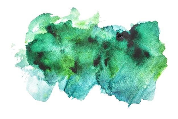 緑色の水彩画は、白い背景には、手の絵画を隔離 Premium写真