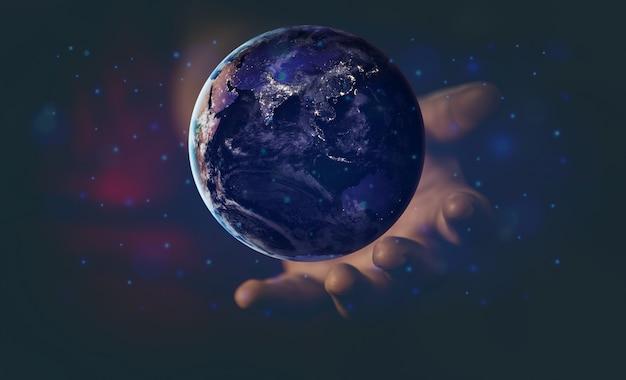 エネルギーとエコロジーの概念、飛んでいる地球を持っている人間の手 Premium写真