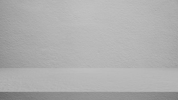 テーブルセメントの床と壁の背景、棚のディスプレイ製品。 Premium写真