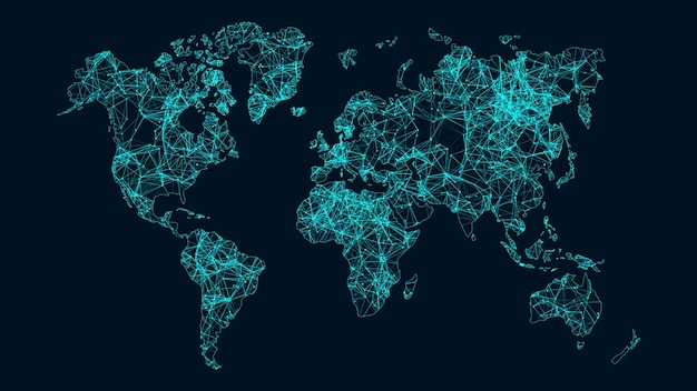 Растущая концепция глобальной сети и передачи данных. Premium Фотографии