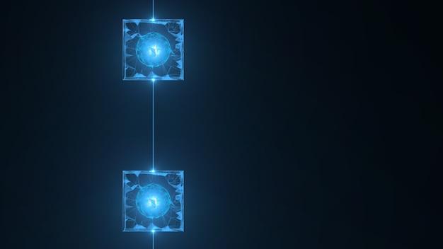 ブロックチェーンネットワークの概念。アイソメトリックなデジタルブロックの正方形のコードは大きなデータ接続です。 Premium写真