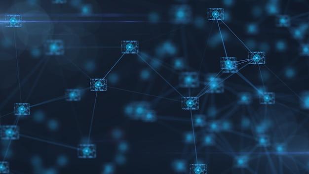 ブロックチェーンネットワークの概念。アイソメトリックなデジタルブロックの正方形のコードは、大きなデータ接続。 Premium写真