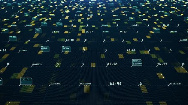 ビッグデータの視覚化の概念機械学習アルゴリズム情報の分析接続性を伝える技術データとバイナリコードネットワーク Premium写真