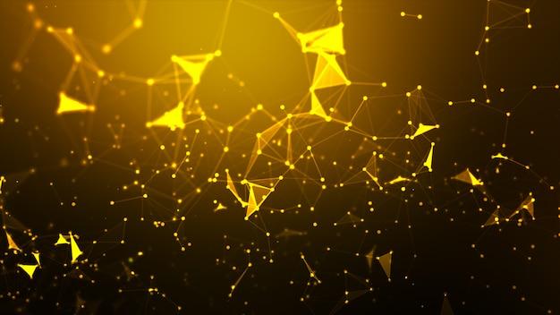 抽象的な背景ドットとサイバー技術未来とネットワーク接続の概念のワイヤフレームの接続線 Premium写真