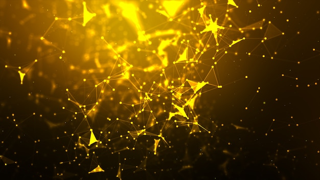 Абстрактный фон точка и соединительная линия для футуристической и сетевой концепции кибер-технологии с широкоэкранным соотношением темноты и зернистости Premium Фотографии