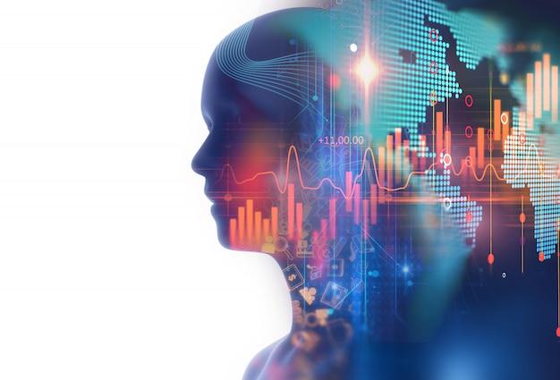 Изображение с двойной экспозицией финансового графика и виртуального человека Premium Фотографии