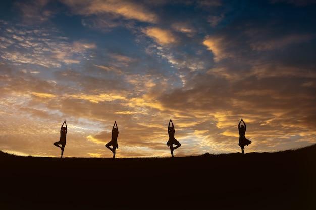 日の出山の頂上に瞑想若いフィットネスヨガ女性 Premium写真